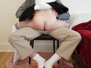 Young schoolgirl learns deep lesson while getting tutored at home.